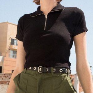 Brandy Melville Black Joann Crop Top Zip Up
